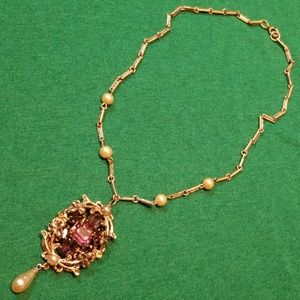 Jewelry - Vintage purple gemstone faux pearl necklace